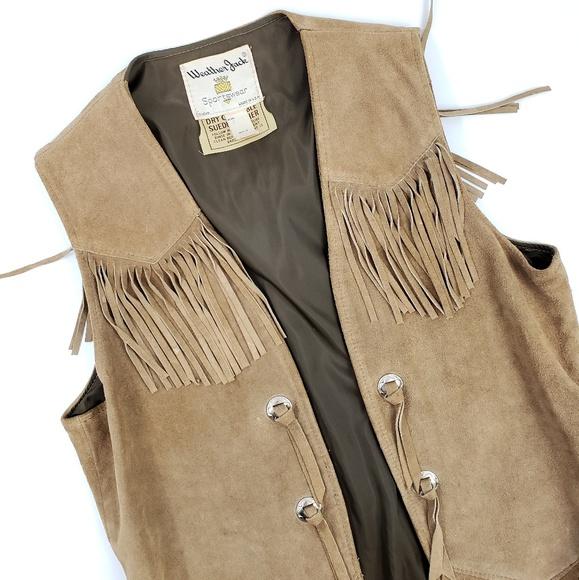 Vintage Jackets & Blazers - Vintage Tan Suede Fringe Concho Vest